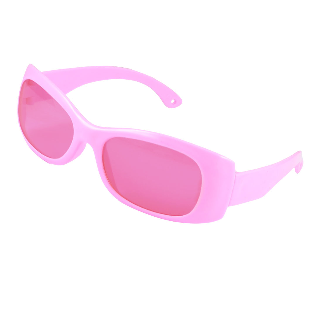 Children Plastic Arms Pink Full Rim Rectangle Shaped Lens Sunglasses