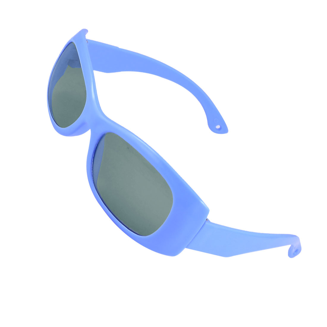 Kid Blue Wide Temple Plastic Full Frame Rectangle Shaped Lens Sunglasses