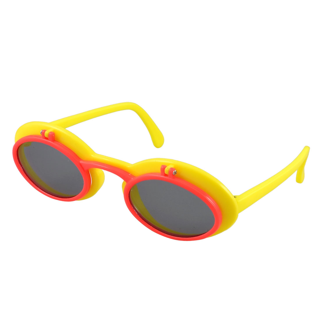 Children Yellow Red Two Layer Full Rim Frame Flip up Sunglasses Decoration