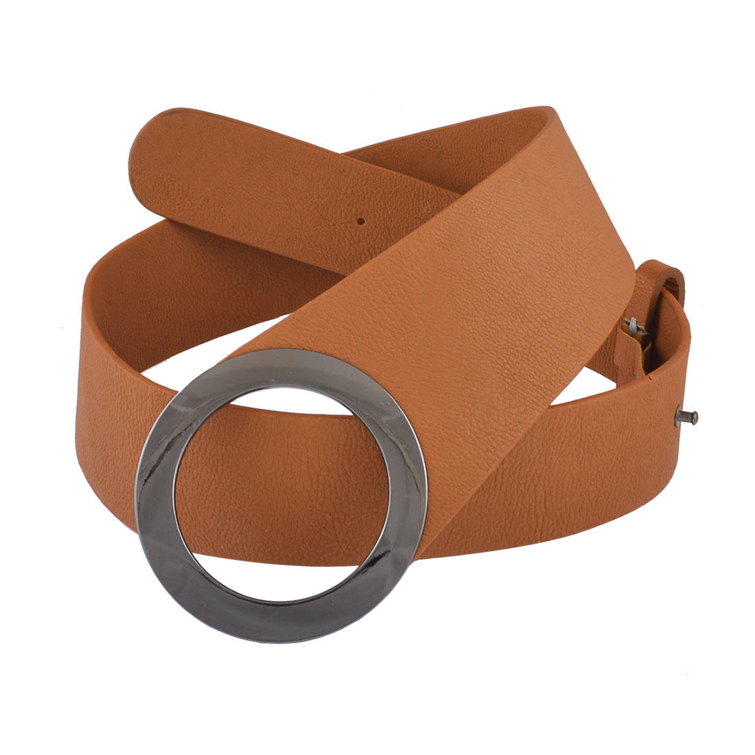 Metal Circle Press Buckle Faux Leather Wide Waist Belt Band Brown for Man