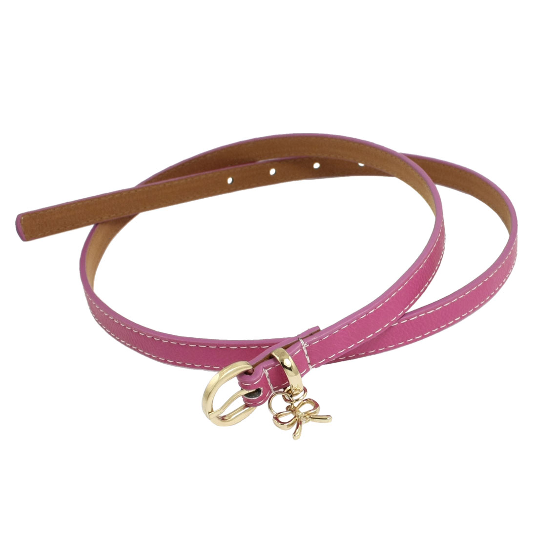 Ladies One Pin Buckle Adjustable Fuchsia Faux Leather Thin Waist Belt 1.3cm Wide