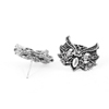Ladies Women Owl Decor Pierced Stud Earrings Silver Tone Black Pair