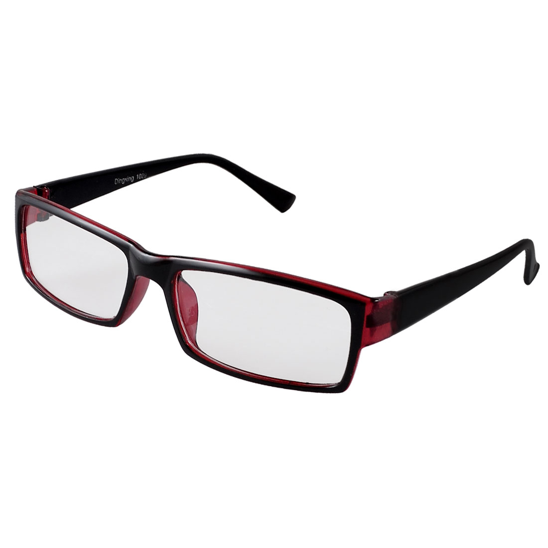 Women Clear Lens Red Black Plastic Full Rim Plano Glasses Spectacles