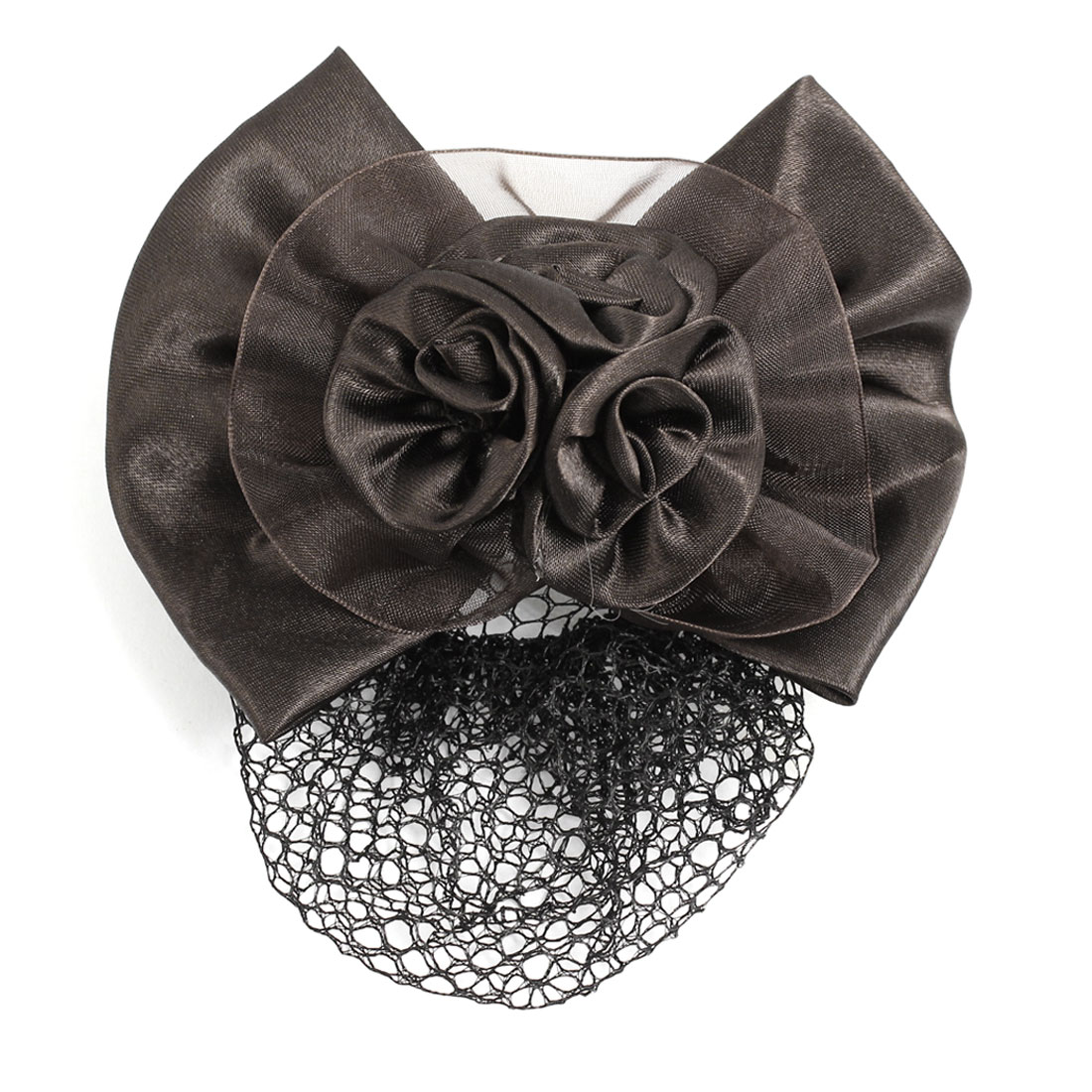 Lady Bowknot Flower Accent French Hairclip Coffee Color Net Hair Snood Barrette