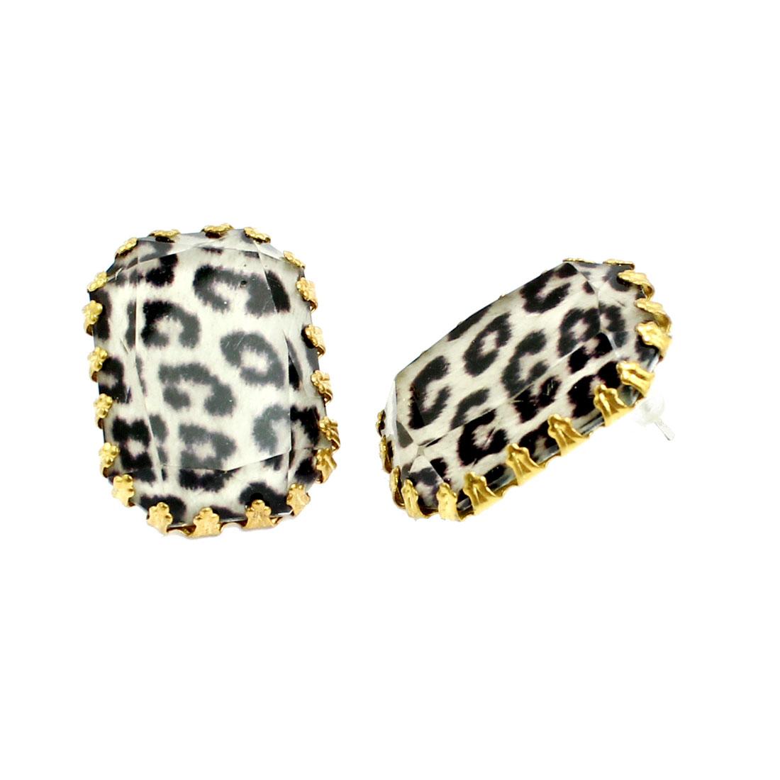 Lady Leopard Print Rectangle Shaped Pin Stud Earrings Jewelry Pair Beige Black