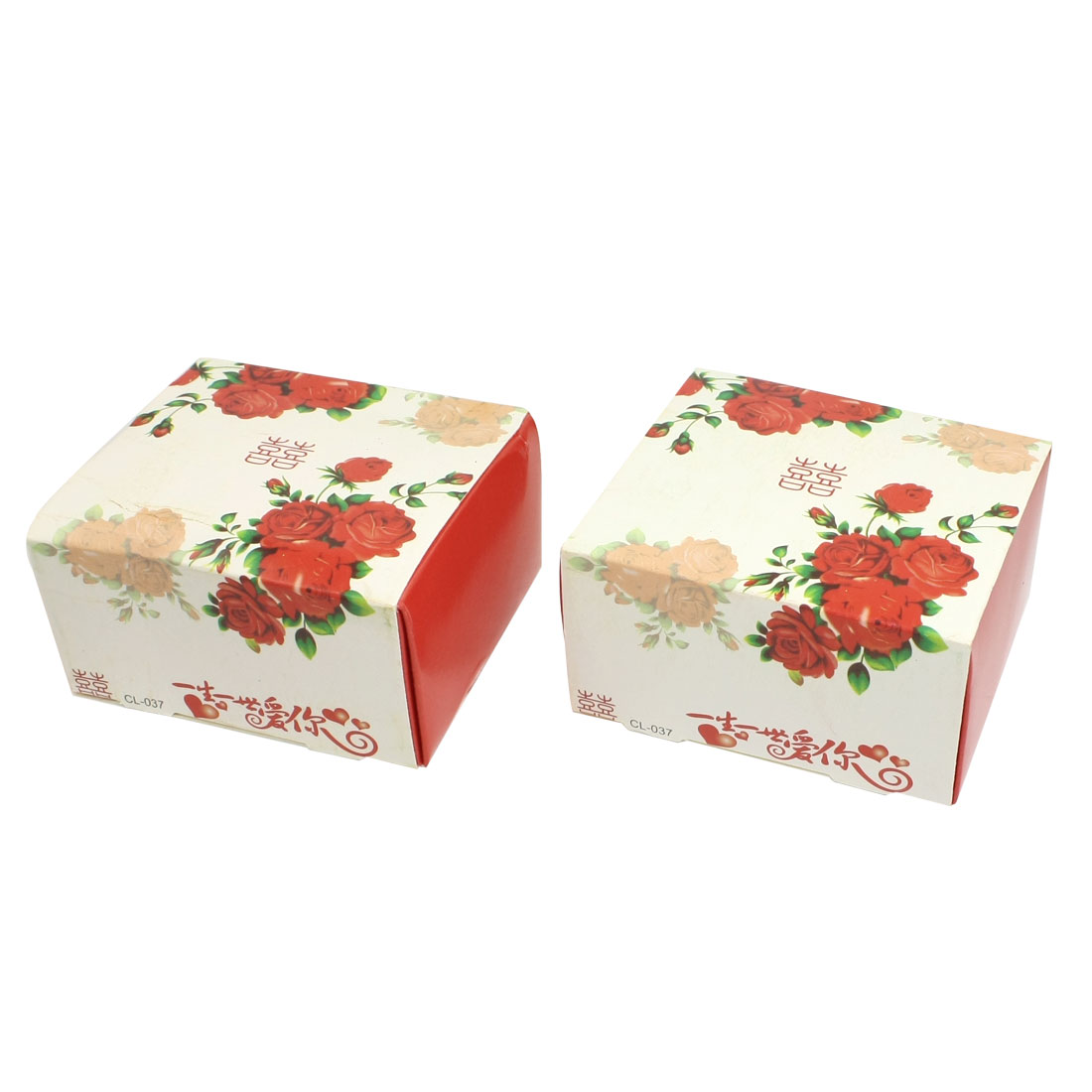 Red Flower Printed Finger Ring Jewelry Gift Present Box Holder White 2 Pcs
