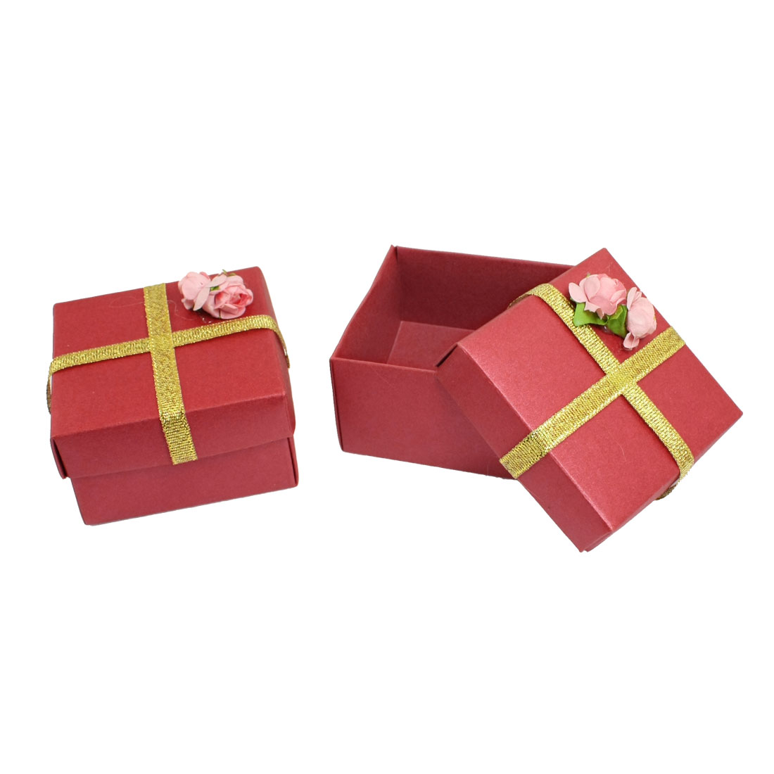 Wedding Red Square Shaped Paper Gift Watch Jewelry Storage Box 2 Pcs