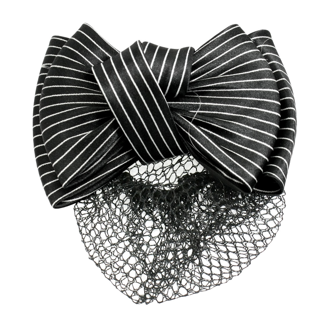 Lady Black White Stripe Print Bowknot Snood Net Barrette Hair Clip