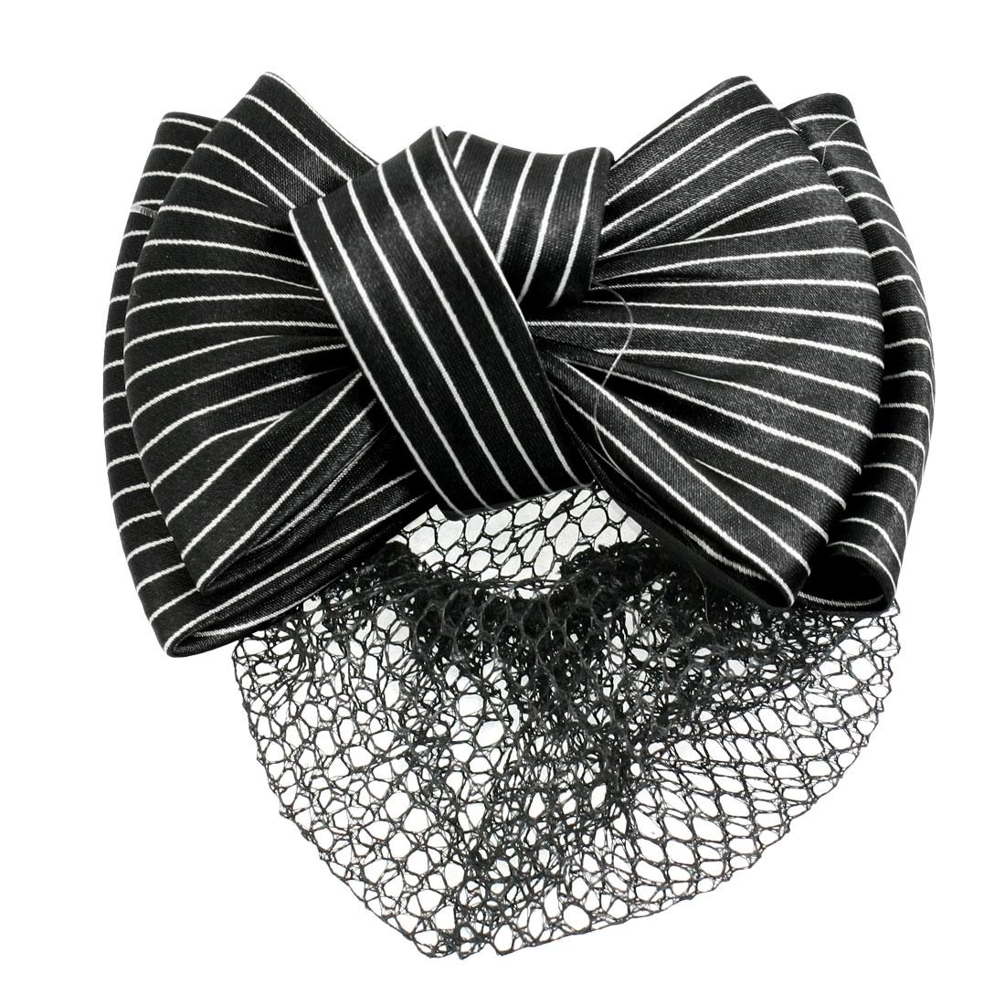 Lady Black White Stripe Print Bowknot Snood Net Barrette Hair Clip