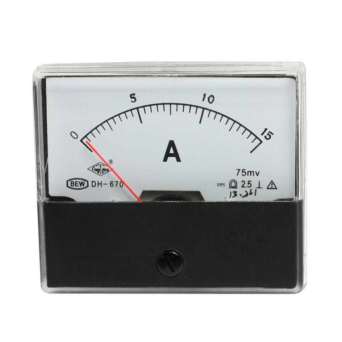 DH670 Plastic Case DC 0-15A Analog Ammeter Current Panel Meter Gauge Tool