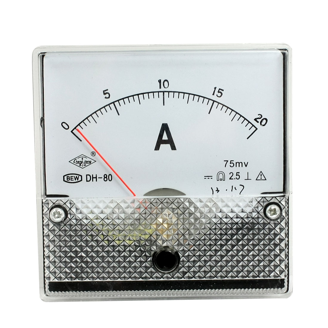 DH-80 DC 0-20A Rectangle Analog Panel Ammeter Gauge