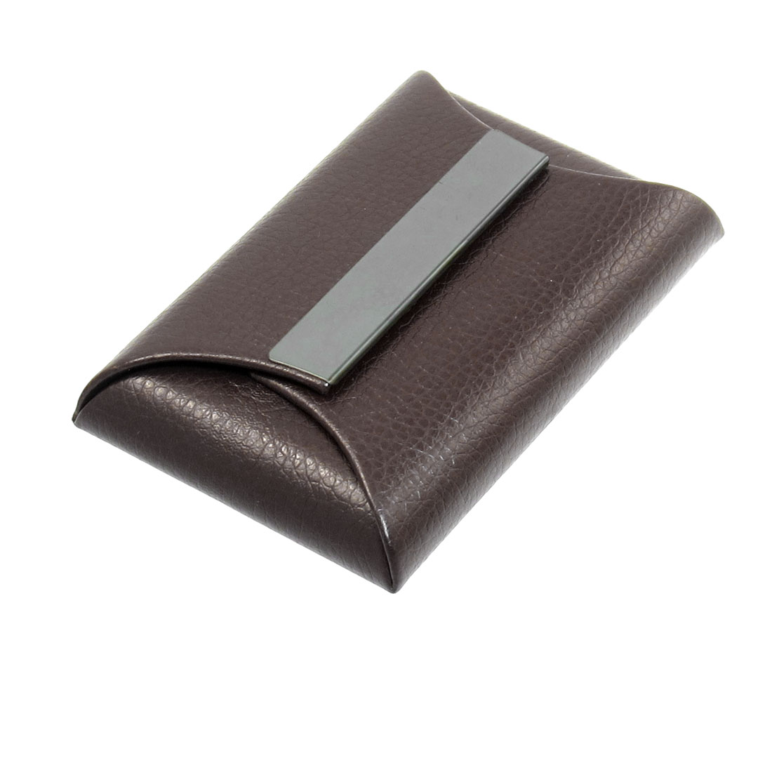 Magnetic Flap Closure Brown Envelop Shape Business Card Holder Case