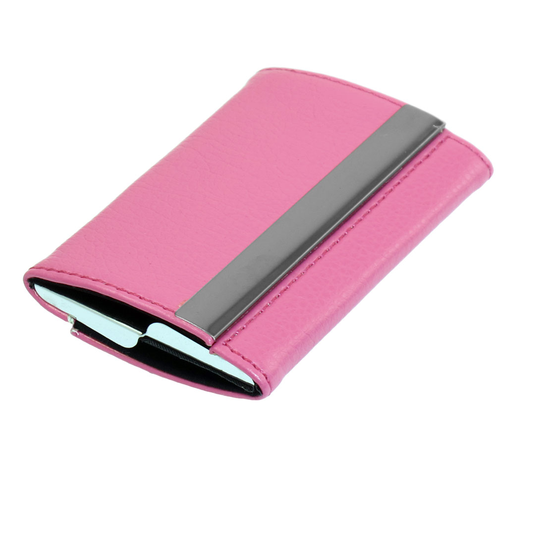 Fuchsia Faux Leather Magnetic Stainless Steel Portable Business Card Holder