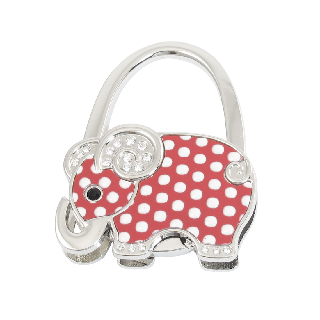 Women Pink Elephant Shape Design Silver Tone Foldable Hand Bag Purse Hanger Hook