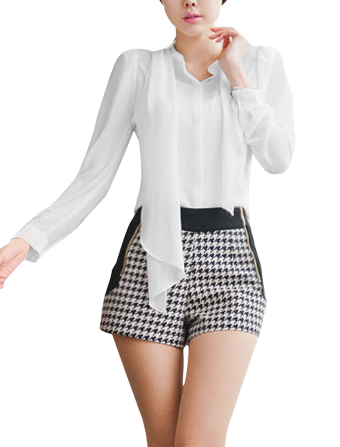 Ladies White Puff Sleeves Self Tie Bowtie Casual Chiffon Shirt XS