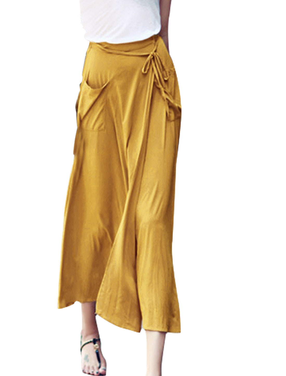 Women Elastic Waist Self Tie Strap Pockets Chiffon Skirt Yellow XS