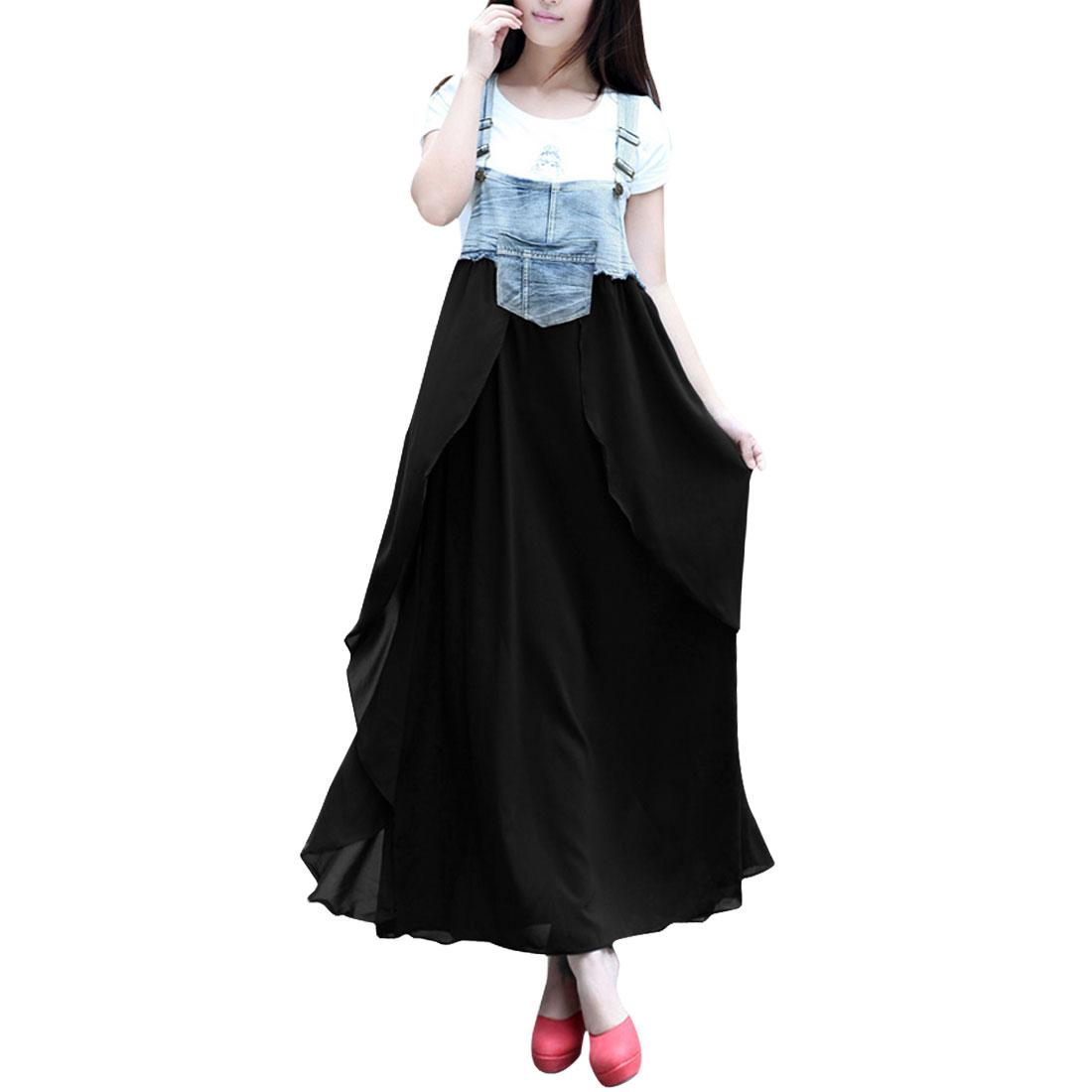 Ladies Sleeveless Above Knee Panel Chiffon Suspender Dress Black Light Blue XS