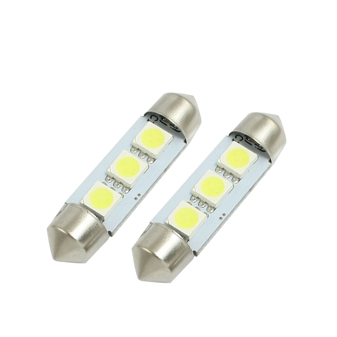 2 Pcs 3 White LED Canbus 5050 SMD 39mm Car Replacement Plate Lights Bulbs