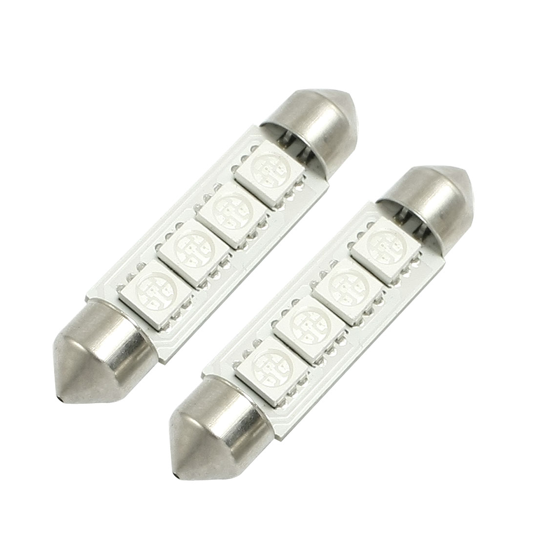 2 Pcs 5050 SMD 42mm 4 Blue LED Replacement Plate Lights Bulbs for Car Van