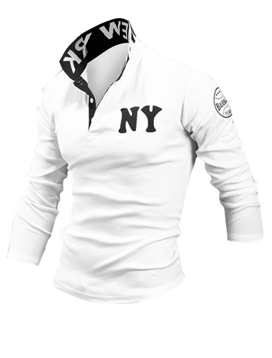 Men Point Collar Button Closure Up Long Sleeve Letter Armband Detail Stretchy Shirt White L