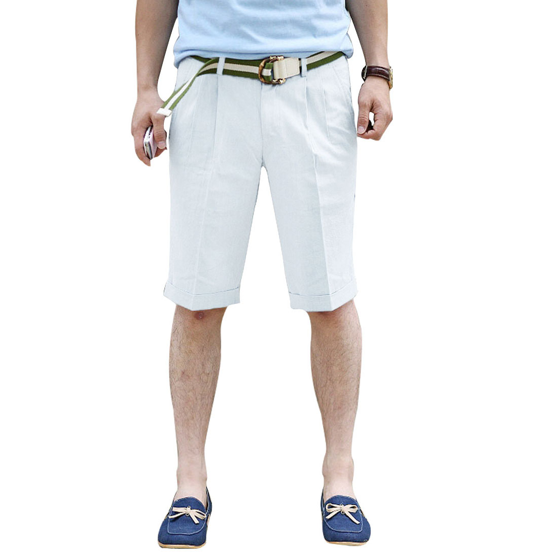 Mens White One Button Zip Fly Fold-over Hem Casual Shorts W32
