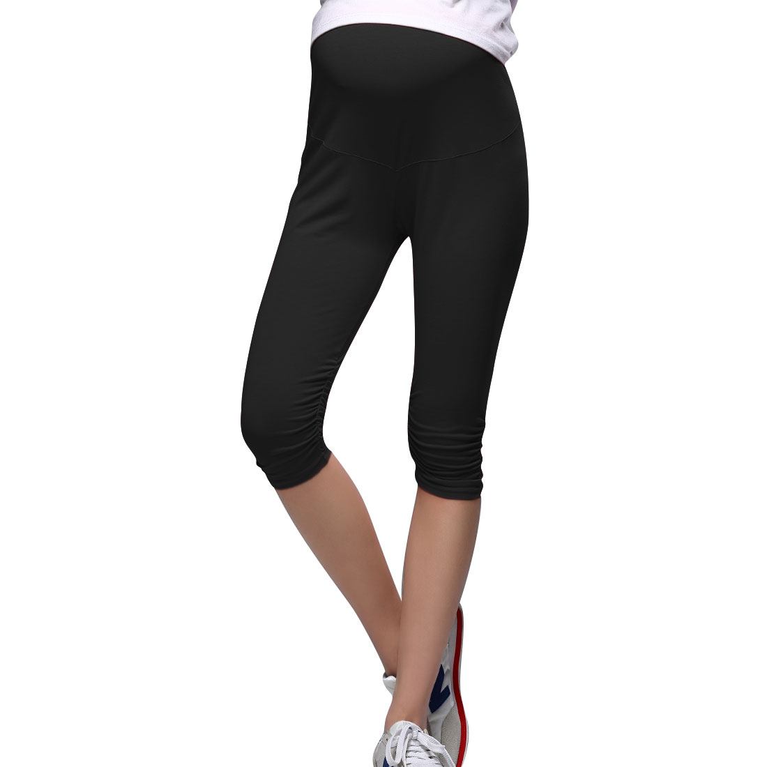 Pregnancy Black Stretchy Button Adjust Waist Slim Leggings XS