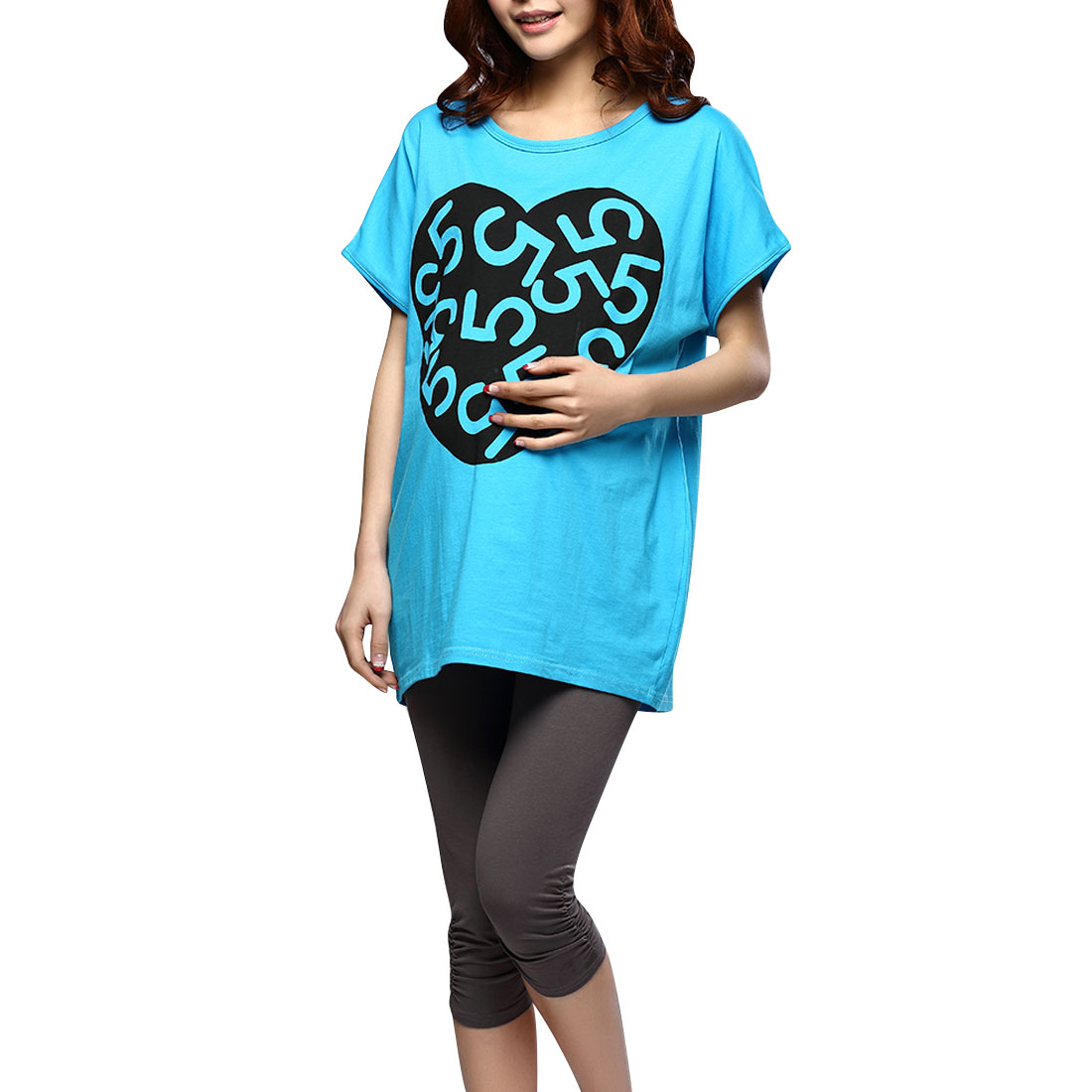 Pregnant Women Round Neck Short Sleeve Casual Shirt Sky Blue L