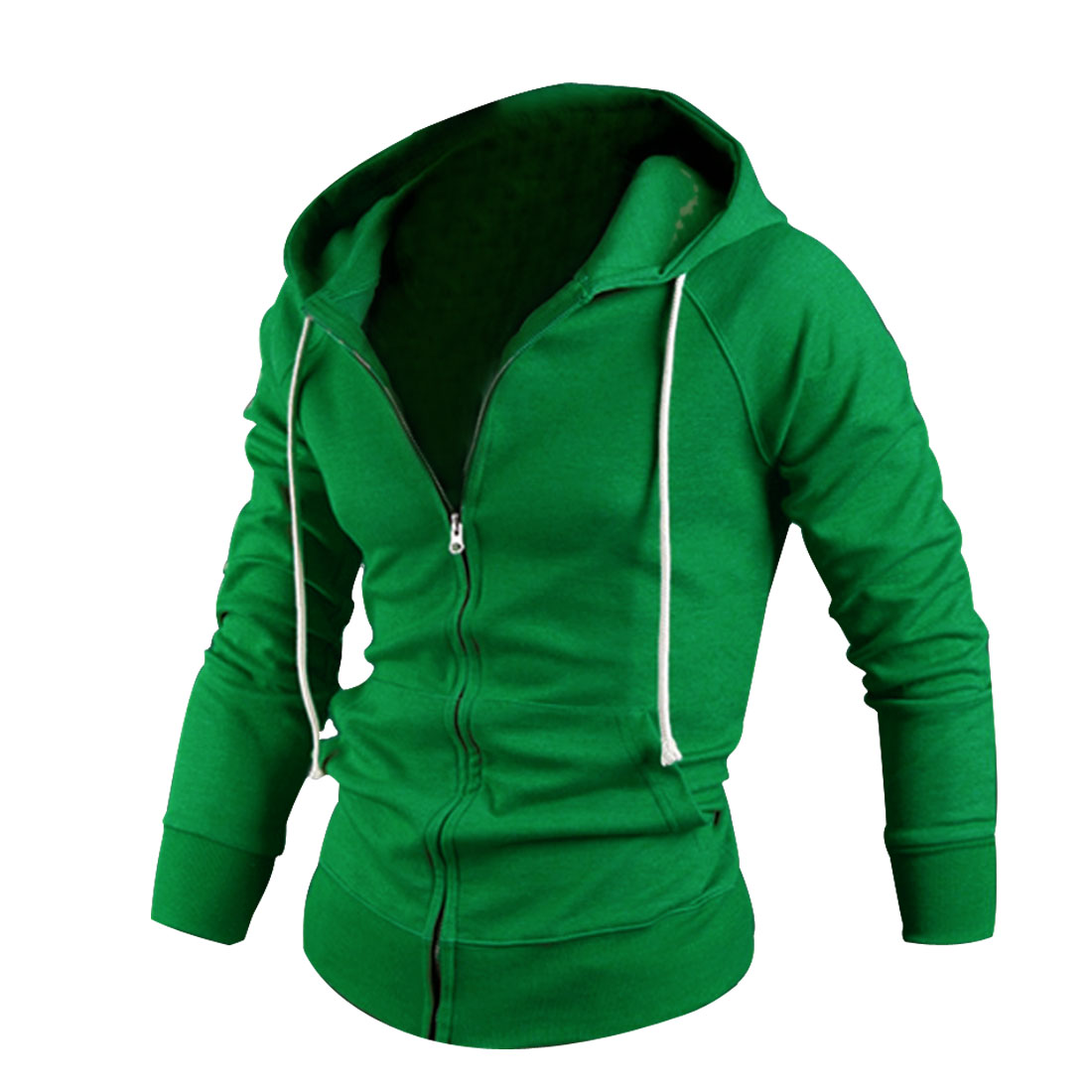 Men Zipper Front Pockets Stylish Thick Hooded Jacket Green M