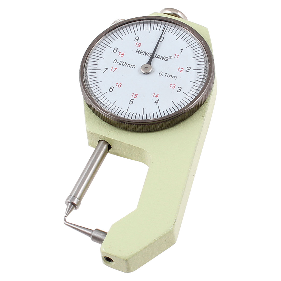 0 to 20mm x 0.1mm Cusp Head Dial Thickness Gauge Measuring Tool Beige