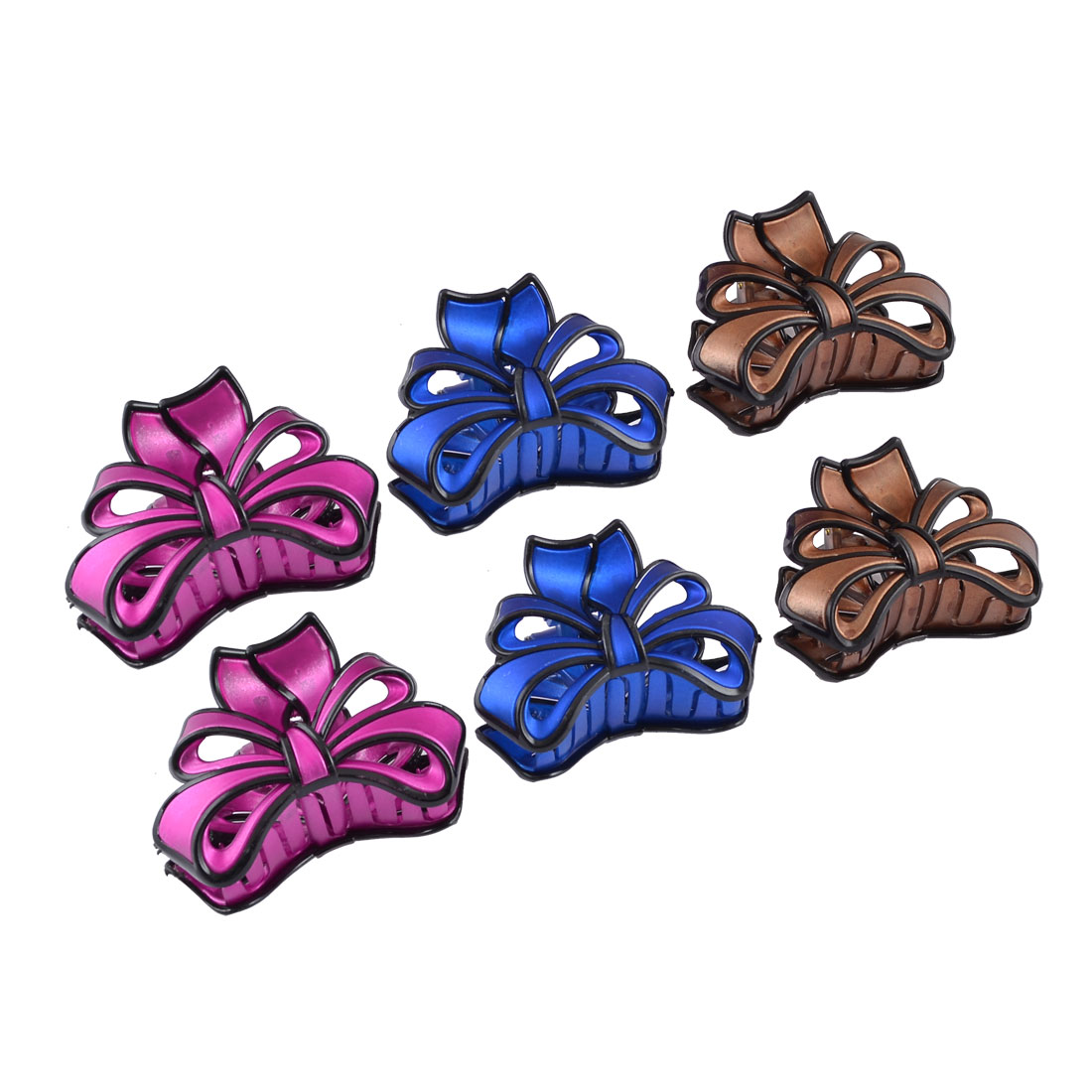 Ladies Blue Purple Coffee Color Spring Loaded Plastic Bowknot Claw Hair Clips 6 Pcs