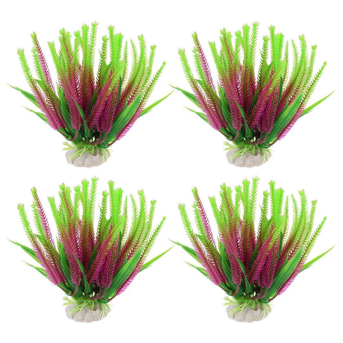"""5.3"""" Aquarium Fish Tank Ornament Green Fuchsia Plastic Water Plant Grass 4 Pcs"""