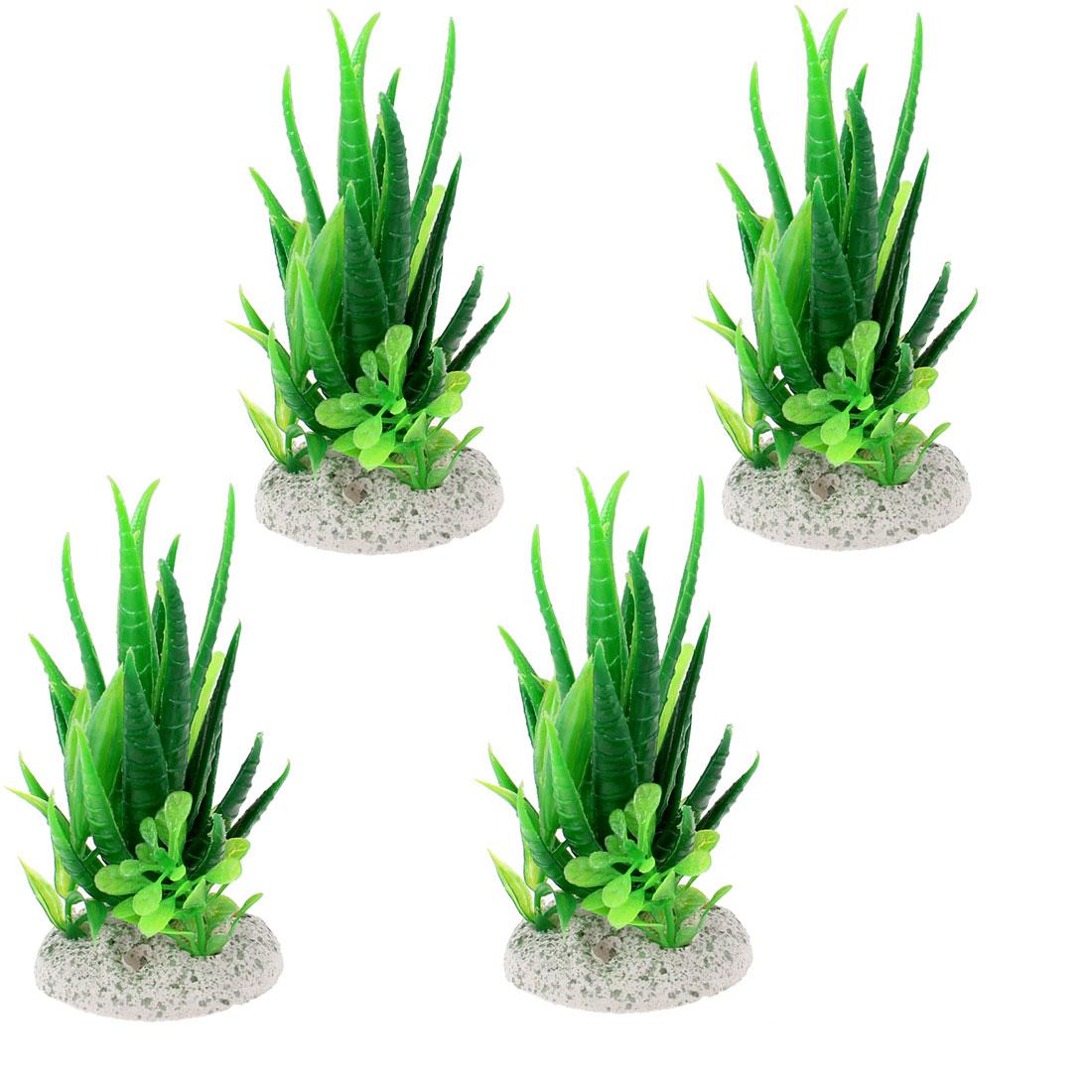 "4.5"" High Aquarium Fish Tank Ornament Green Plastic Water Plant Grass 4 Pcs"