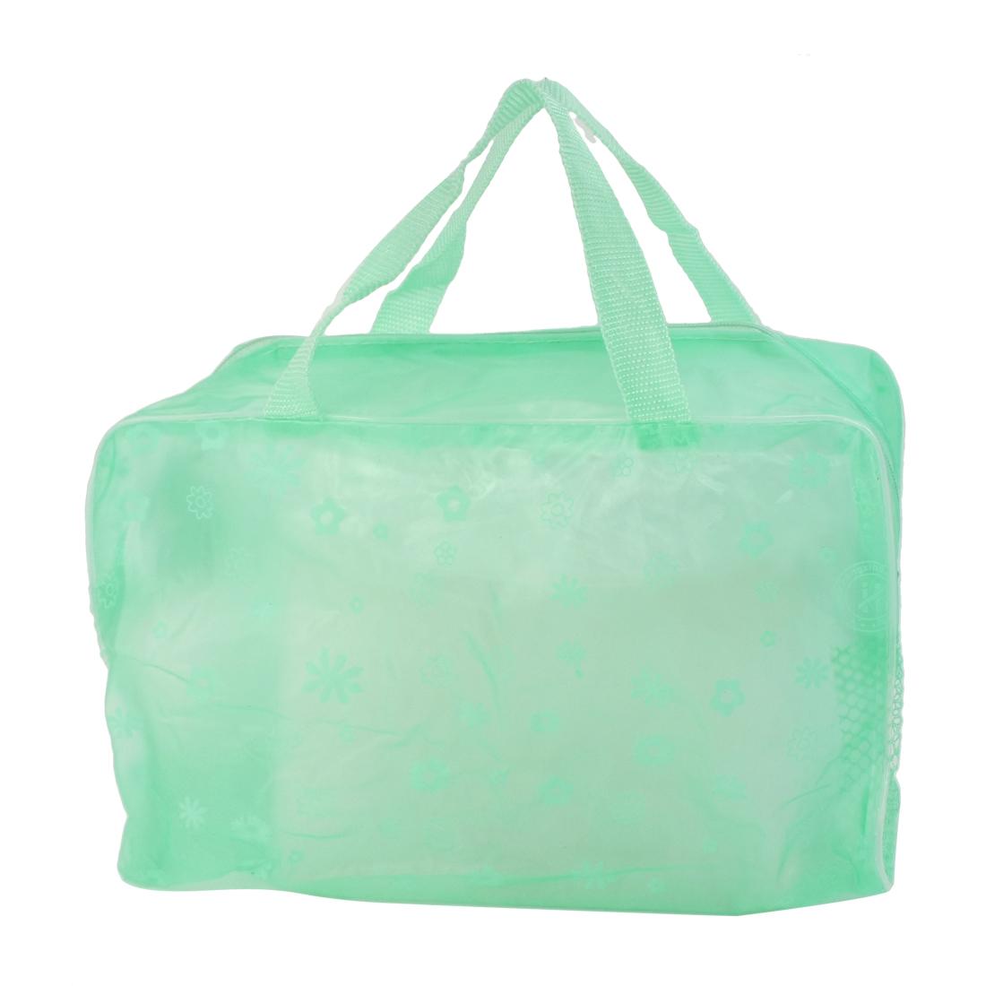 Bathroom Household Polyethylene Flower Pattern Zippered Mesh Shower Bag Green