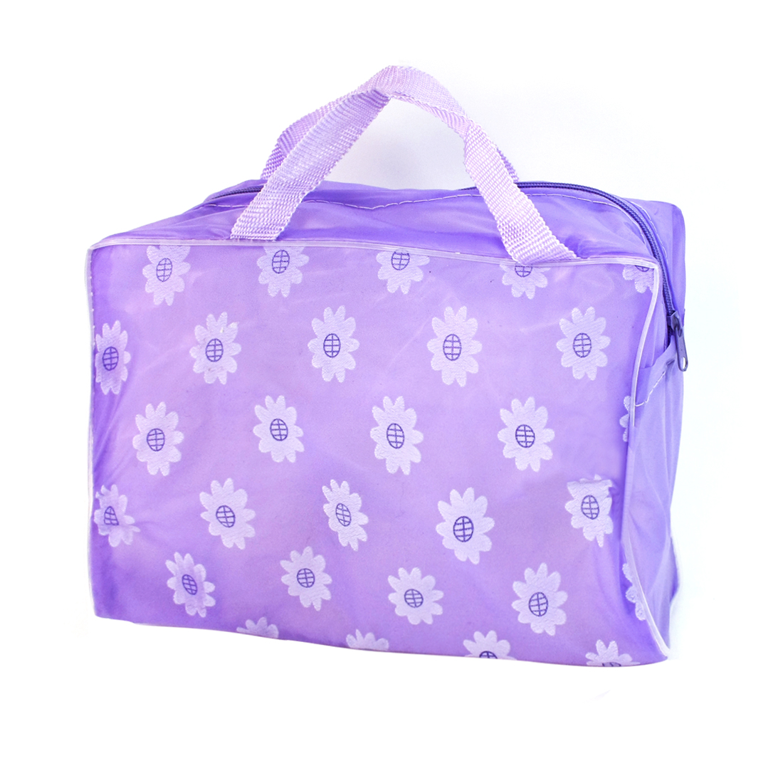 Light Purple Sunflower Pattern Zippered Translucent Shower Bag for Bathroom