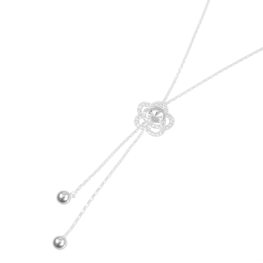 Women Silver Tone Crystal Accent Floral Tassel Pendant Necklets Sweater Chain