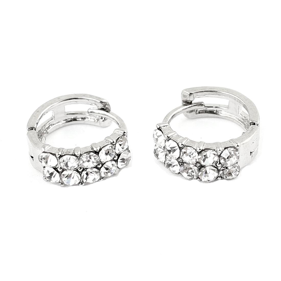 Pair Clear Rhinestone Inlaid Huggie Hoop Silver Tone Earrings for Ladies
