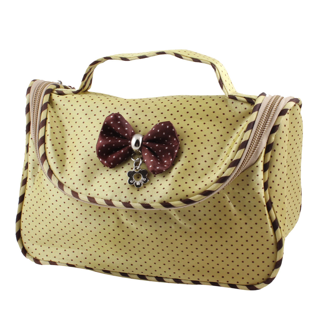 Flower Pendant Bowknot Accent Burgundy Dots Khaki Cosmetic Bag