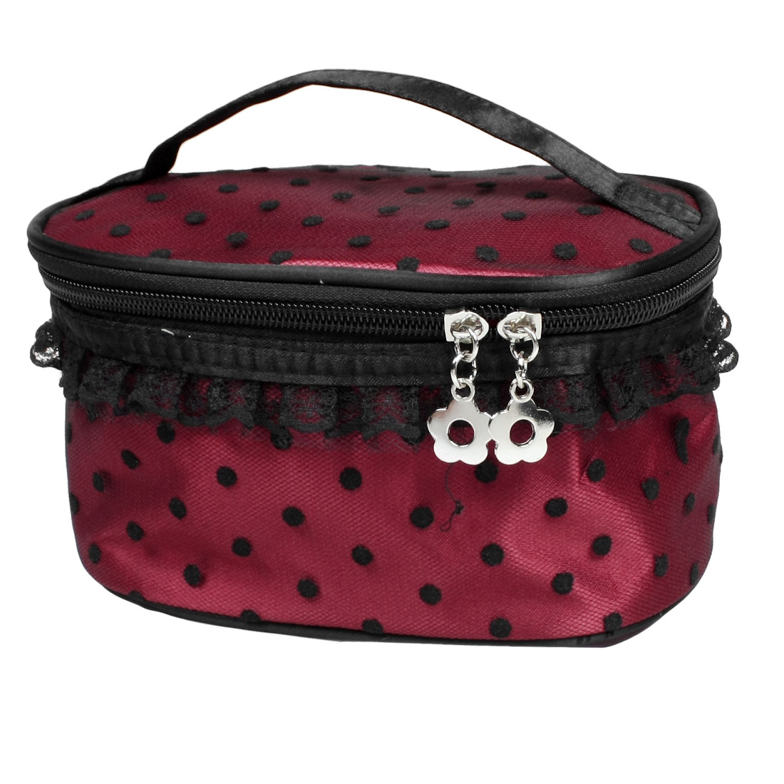 Burgundy Black Zipper Closure Portable Meshy Lace Toiletry Makeup Cosmetic Bag