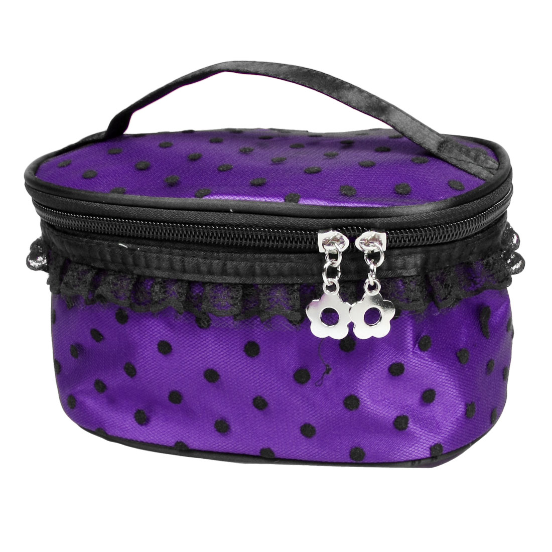 Purple Black Zipper Closure Portable Meshy Lace Toiletry Makeup Cosmetic Case