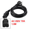 PC Displayer 3 Pins AU Plug to Female C15 Socket Power Supply Cable 4.9ft