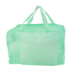 Bathroom Household Polyethylene Flower Pattern Zippered Mesh Shower Bag Green