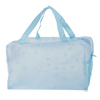 Zippered Flodable Floral Printed Shower Bag Light Blue Translucent for Bathroom
