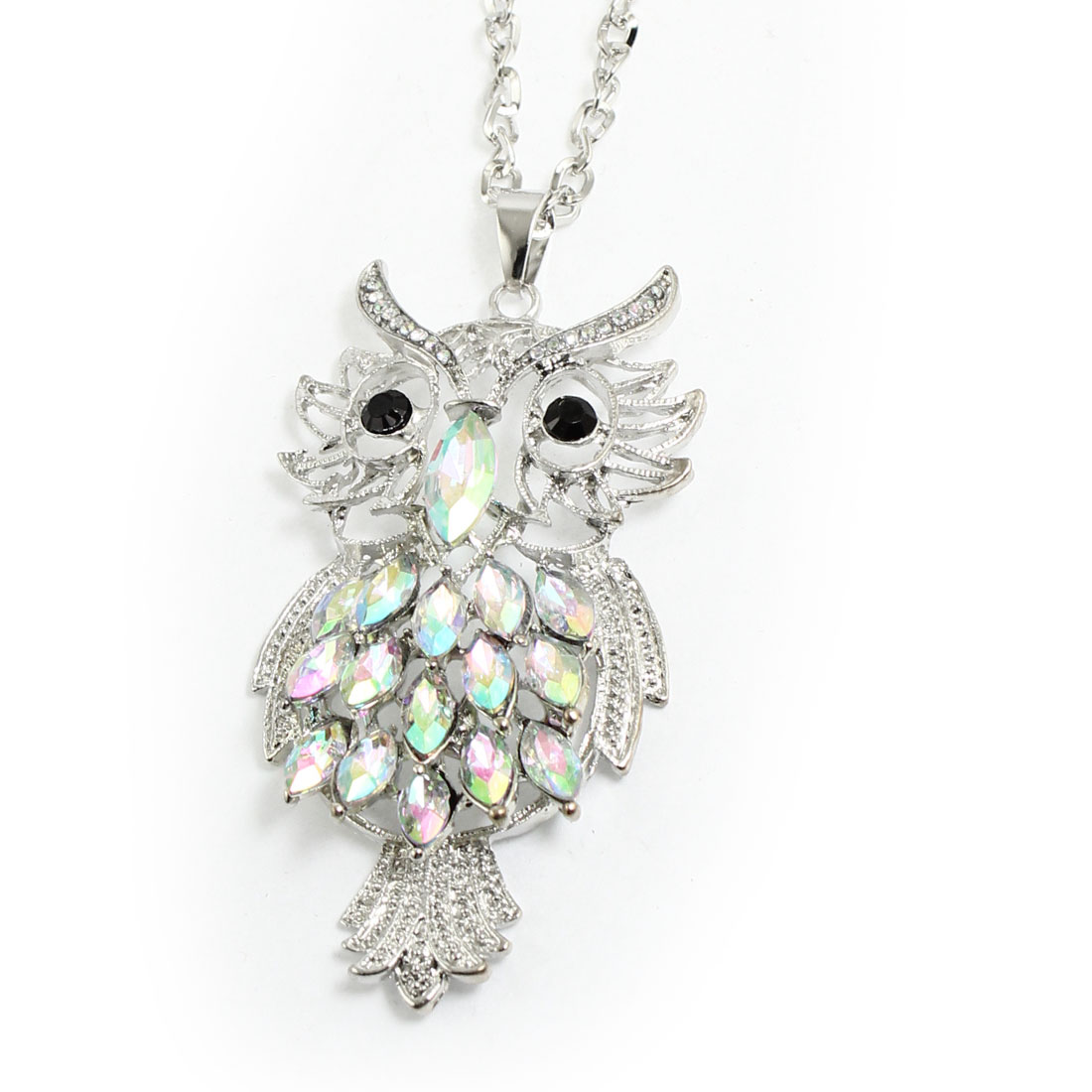 Women Lady Faceted Plastic Crystal Inlaid Owl Pendant Necklace Silver Tone