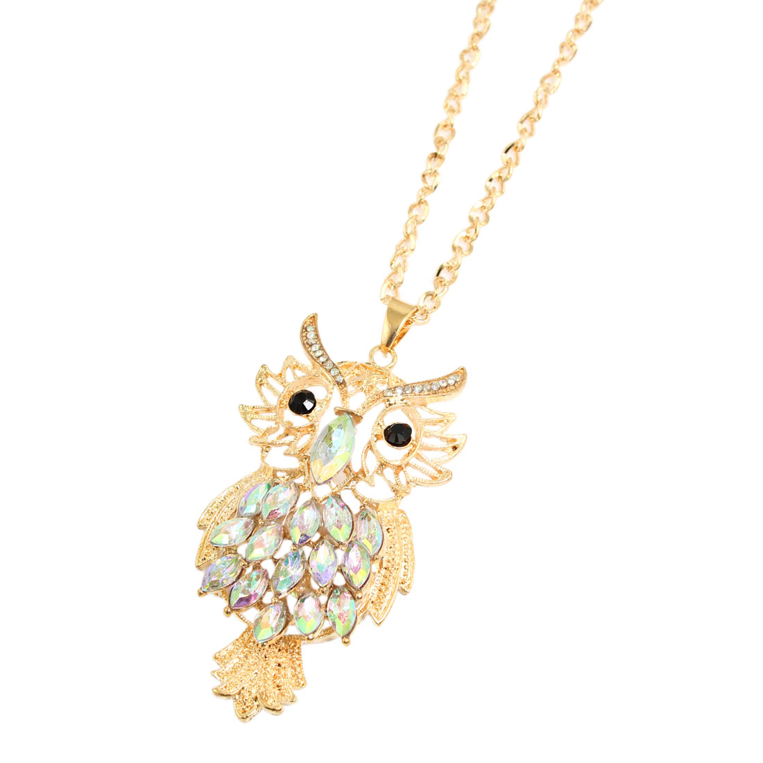 Women Lady Gold Tone Alloy Owl Pendant Lobster Closure Long Chain Necklace