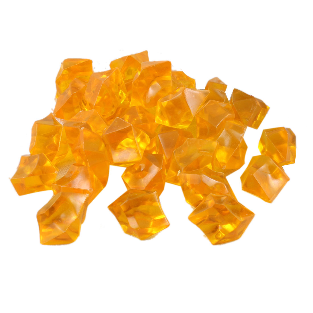 "30pcs Orange Polygon Faux Crystal Stones Decor 1"" Long for Aquarium"