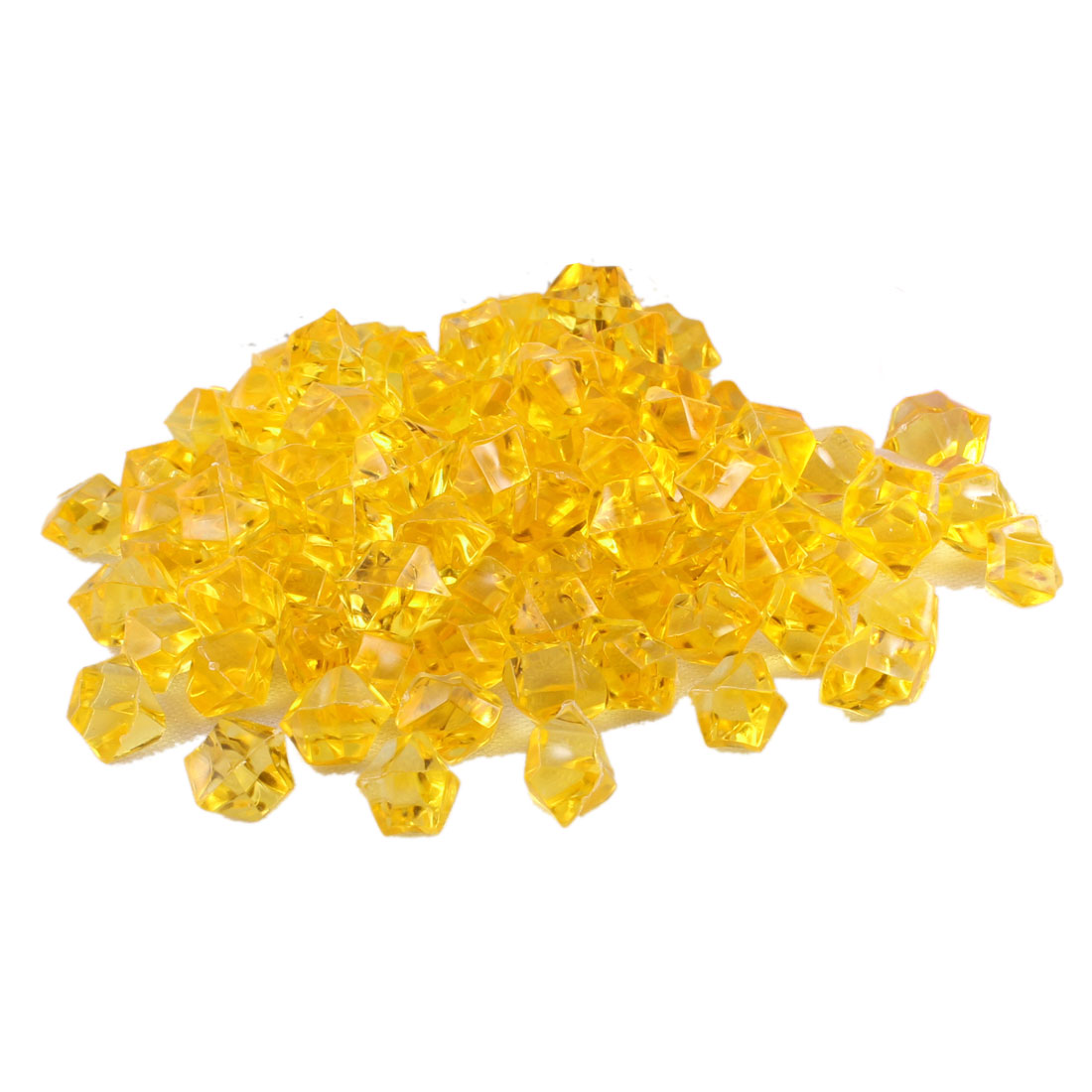 "100pcs Gold Tone Polygon Faux Crystal Stones Decor 0.6"" Long for Aquarium"