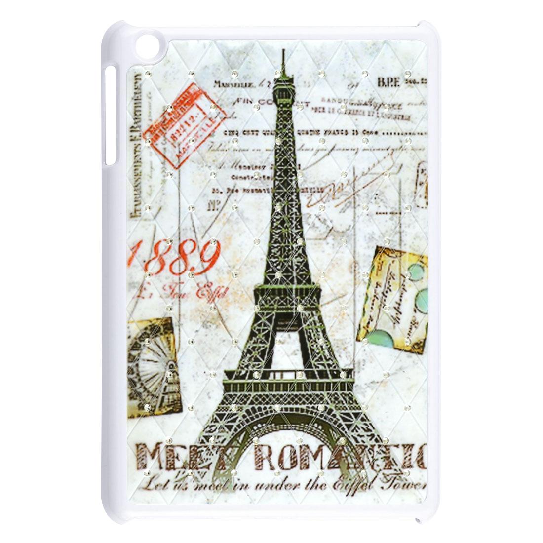 Retro Style Paris Eiffel Tower Rhinestone White Hard Back Case for iPad Mini