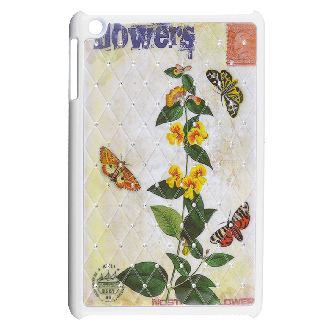Butterfly Flowering Branch Shiny Rhinestone White Hard Back Case for iPad Mini