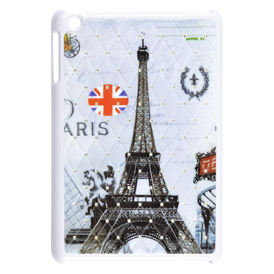 Paris Eiffel Tower UK Flag Rhinestone White Hard Back Case for Apple iPad Mini