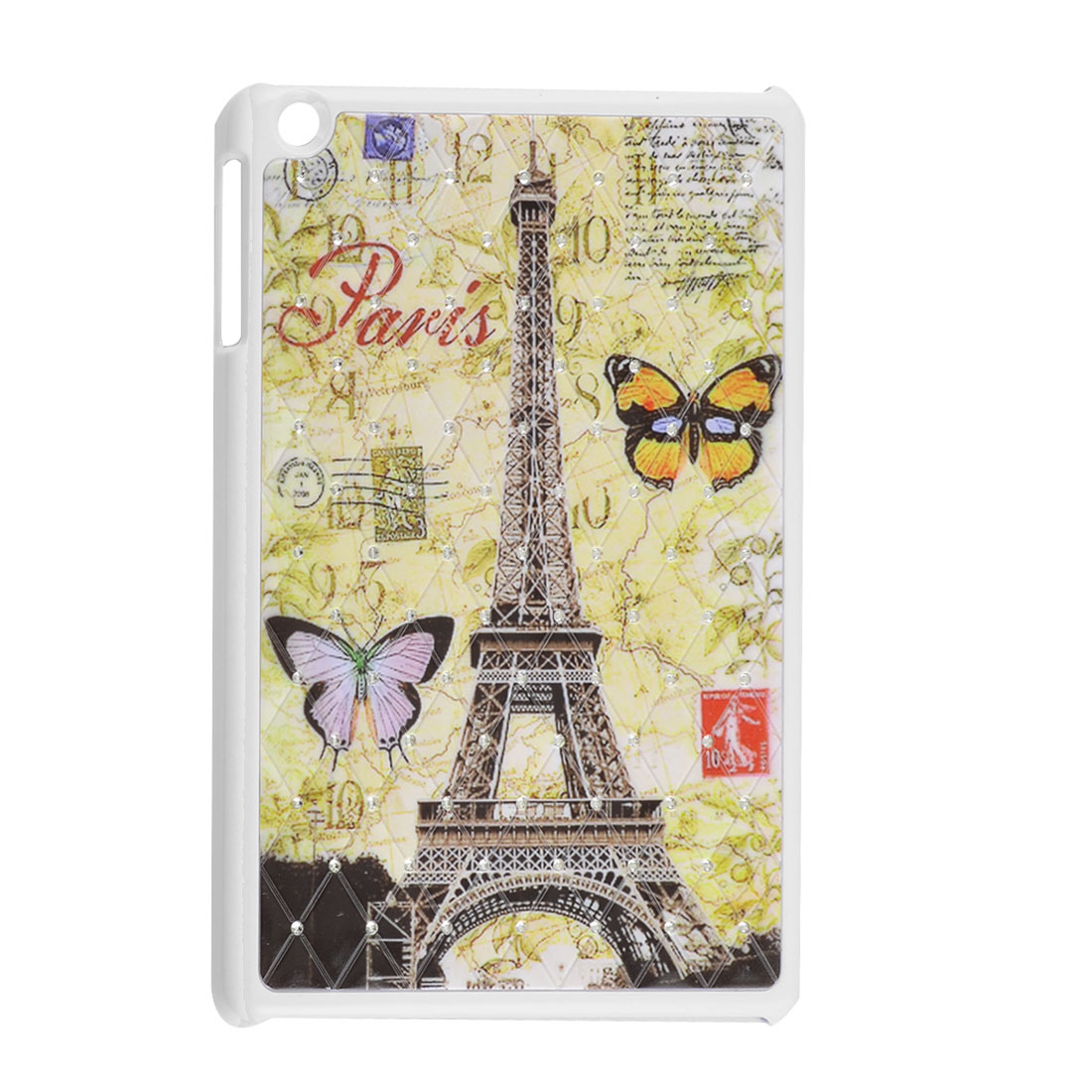 Eiffel Tower Butterfly Stamp Rhinestone White Hard Back Case for Apple iPad Mini